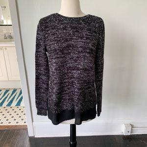 Black Marled Crew Neck Sweater